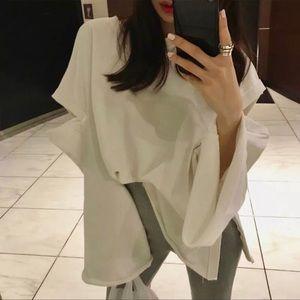 Parisian Bell Sleeve Cotton Pullover Sweatshirt